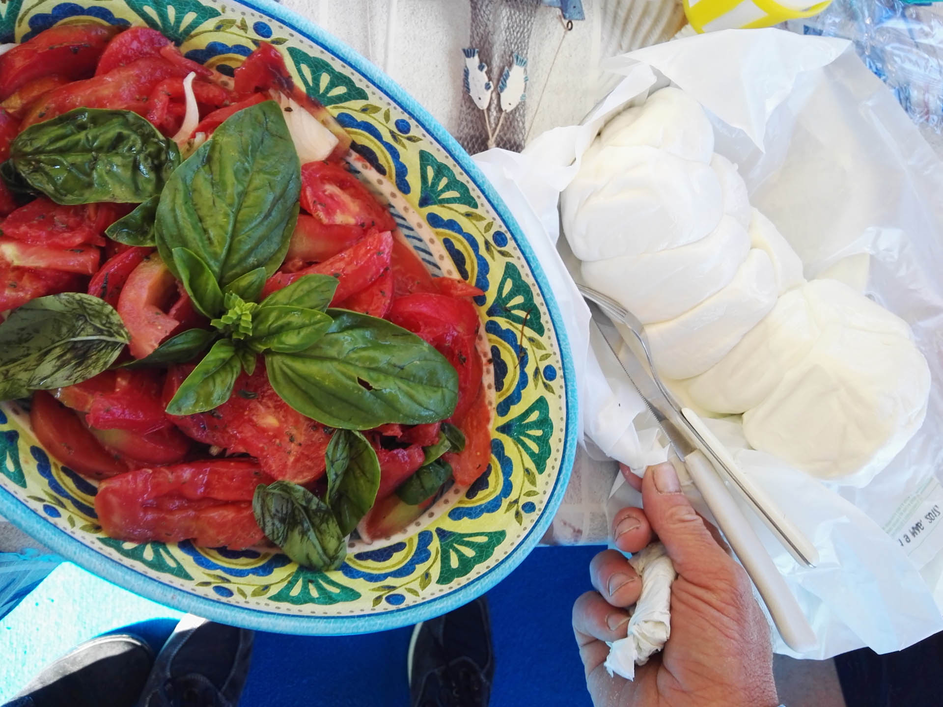 Caprese lunch on boat near Capri