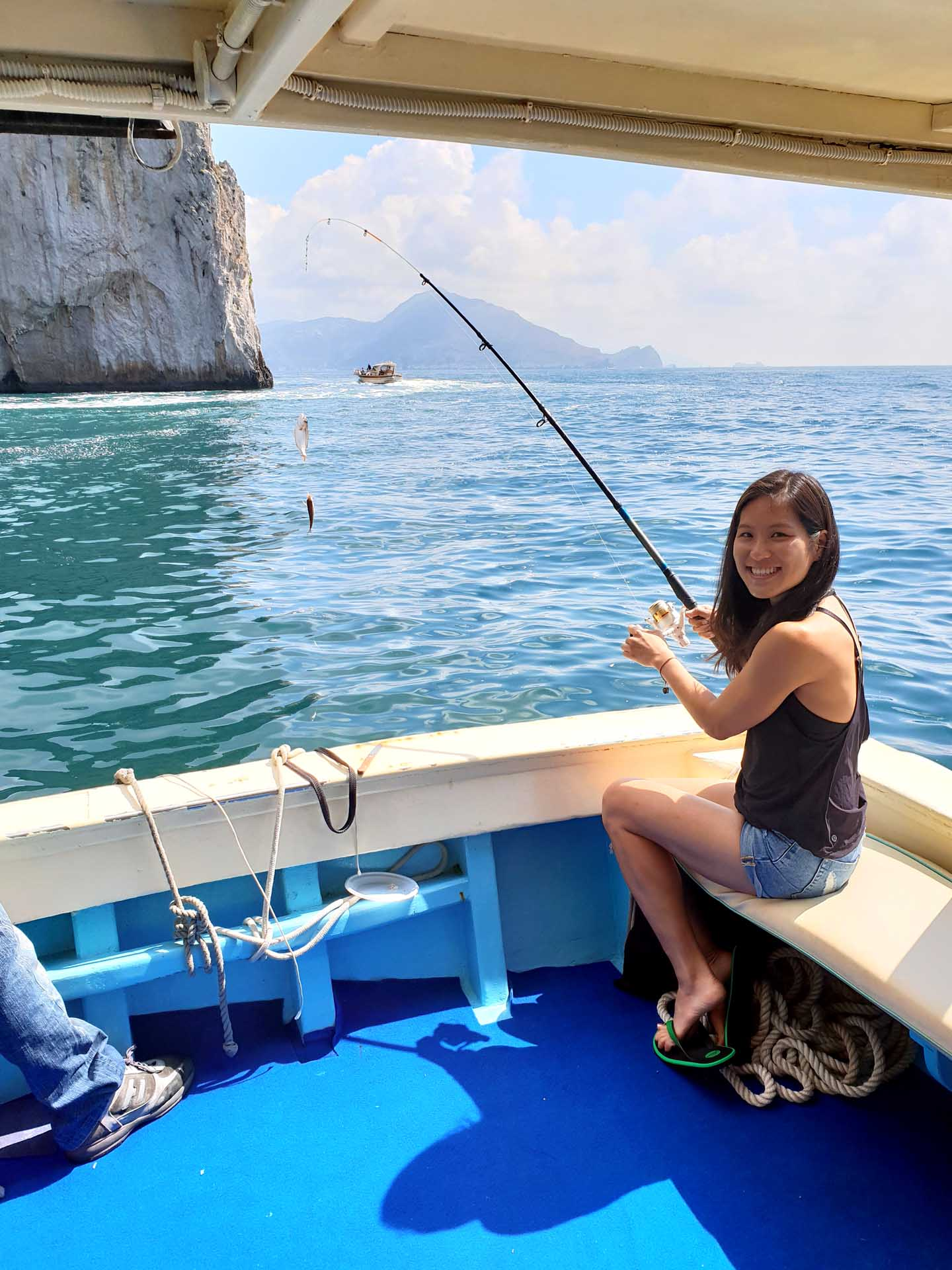 Fishing tourism on boat in Sorrento coast