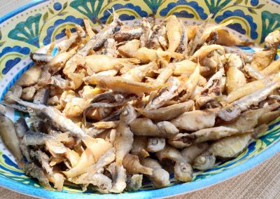 Fresh fish fry on boat