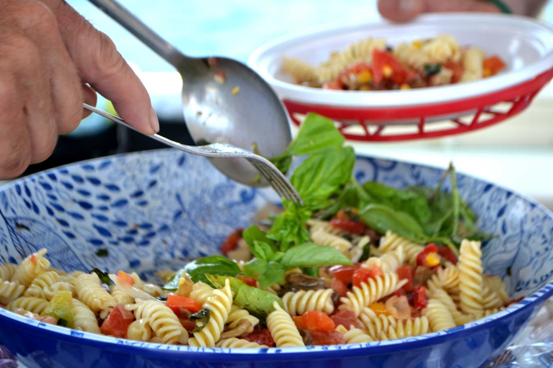 Fresh pasta salad meal on boat
