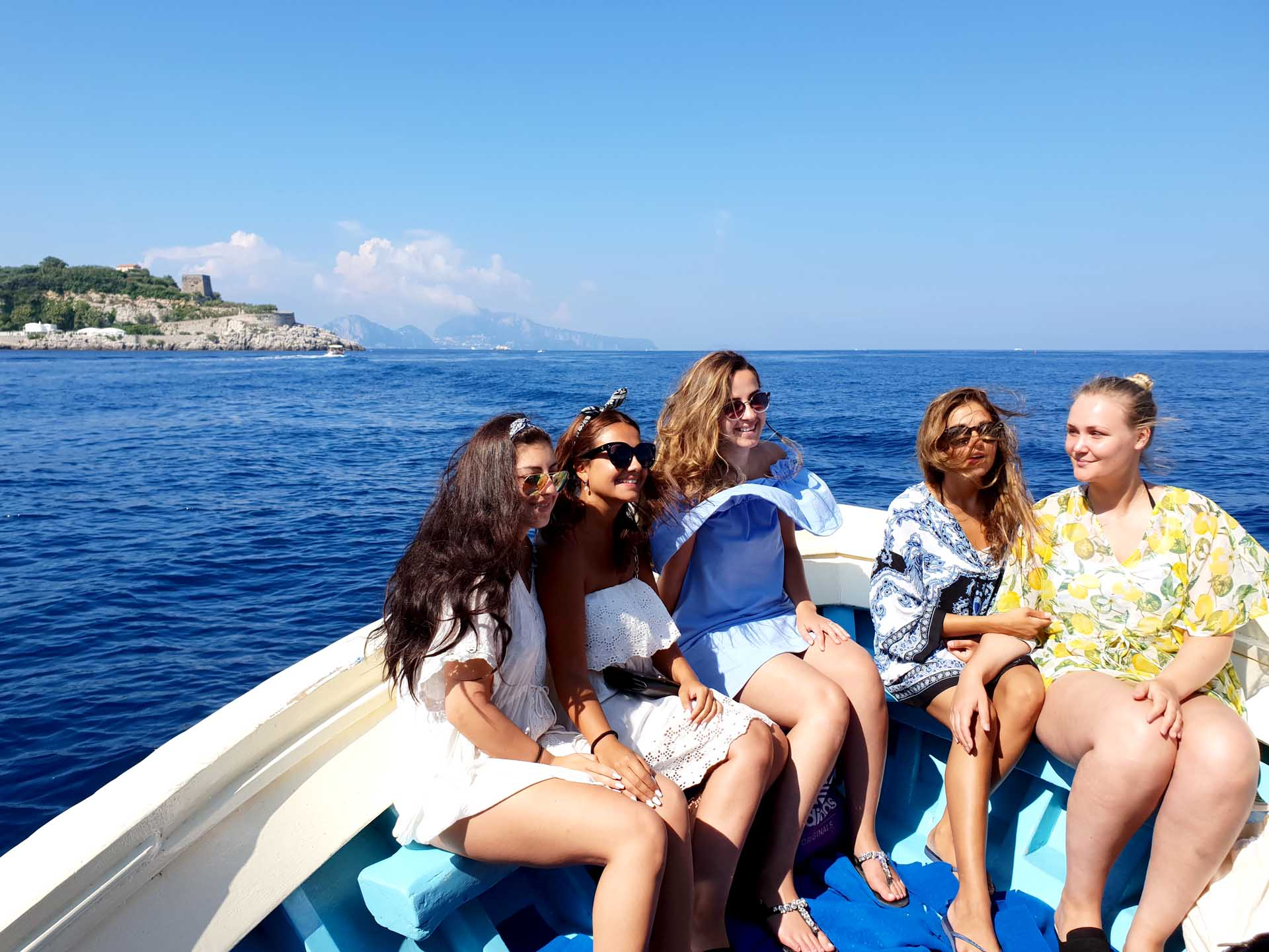 Friends on a boat trip to Capri