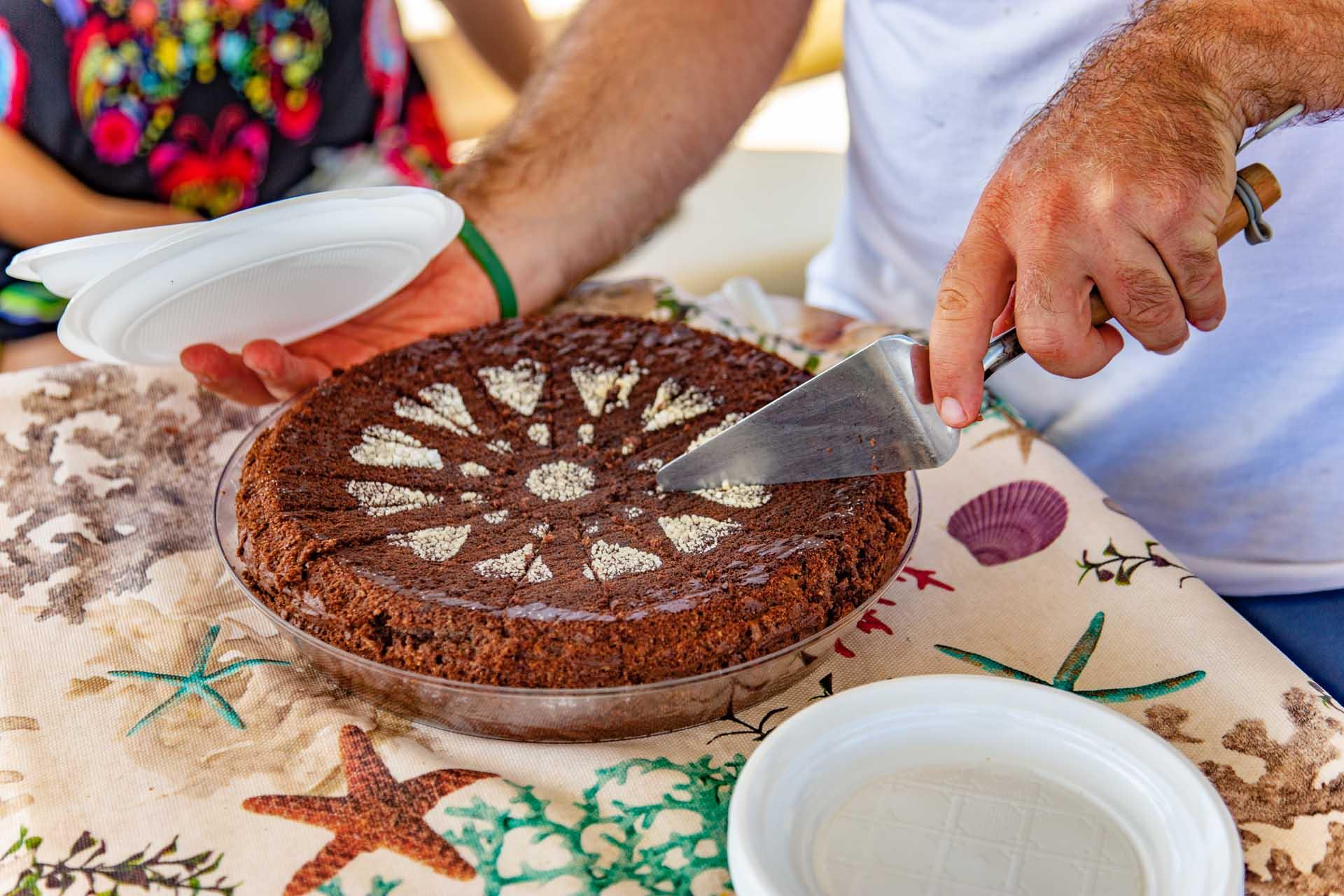 Caprese cake aboard the SalBoat