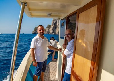 Sal and Frank at the controls of the SalBoat